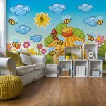 Cartoon Bees And Sunshine Photo Wallpaper Mural (10008VE)