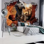 Dinosaur 3D Jumping Out Of Hole In Wall Photo Wallpaper Mural (11033VE)