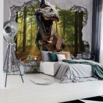Dinosaur 3D Jumping Out Of Hole In Wall Photo Wallpaper Mural (11034VE)