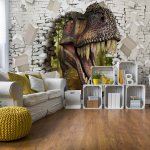 3D Dinosaur Bursting Through Brick Wall Photo Wallpaper Mural (11463VE)