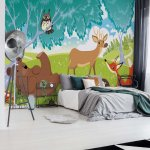 Cartoon Animals In The Forest Photo Wallpaper Mural (1332VE)
