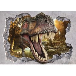 Dinosaur 3D Jumping Out Of Hole In Wall Photo Wallpaper Mural (11035VE)