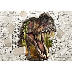 3D Dinosaur Bursting Through Brick Wall Photo Wallpaper Mural (11463VE)