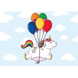 Flying Unicorn With Balloons Photo Wallpaper Mural (11330VE)