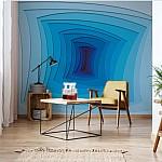 Modern Design 3D Blue Photo Wallpaper Mural (10125VE)