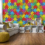 Colourful 3D Jigsaw Puzzle Photo Wallpaper Mural (10127VE)