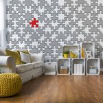 3D Jigsaw Puzzle Grey And Red Photo Wallpaper Mural (10129VE)