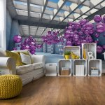Modern 3D Purple Spheres Architecture View Photo Wallpaper Mural (10133VE)