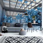 Modern 3D Blue Spheres Architecture View Photo Wallpaper Mural (10134VE)