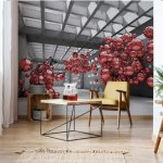 Modern 3D Red Spheres Architecture View Photo Wallpaper Mural (10135VE)