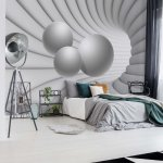 3D Modern Tunnel View Grey And White Photo Wallpaper Mural (10141VE)