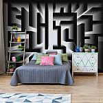 3D Geometric Black And White Maze Photo Wallpaper Mural (10207VE)