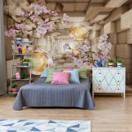 3D Wood And Flowers Tunnel Photo Wallpaper Mural (10217VE)