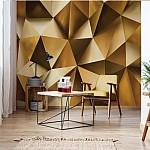 3D Gold Polygon Texture Photo Wallpaper Mural (10223VE)