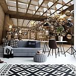 3D Gold Spheres Modern Architecture Photo Wallpaper Mural (10396VE)