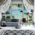 3D Door View Tropical Island Beach Photo Wallpaper Mural (10632VE)