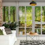 3D Door View Forest Photo Wallpaper Mural (10637VE)