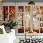 3D Door View Autumn Forest Photo Wallpaper Mural (10639VE)