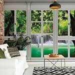 3D Door View Forest Waterfall Photo Wallpaper Mural (10645VE)