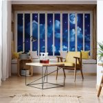 3D Window View Dreamy Night Sky Photo Wallpaper Mural (10652VE)