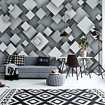 3D Squares Grey Photo Wallpaper Mural (10683VE)