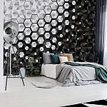 3D Silver And Black Hexagonal Pattern Photo Wallpaper Mural (10684VE)