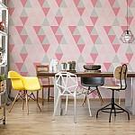 Modern Geometric Pink Triangle Pattern Photo Wallpaper Mural (10728VE)