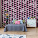 Modern Purple Diamond Pattern Photo Wallpaper Mural (1477VE)