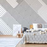 Modern Geometric Pattern White And Grey Photo Wallpaper Mural (1481VE)