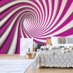 3D Swirl Tunnel Pink And White Photo Wallpaper Mural (2147VE)