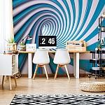3D Swirl Tunnel Blue And White Photo Wallpaper Mural (2150VE)