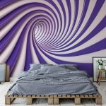 3D Swirl Tunnel Purple And White Photo Wallpaper Mural (2151VE)