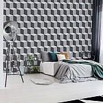 Geometric Design White And Grey Photo Wallpaper Mural (2261VE)