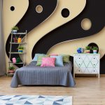 3D Layers Black And Cream Photo Wallpaper Mural (2611VE)