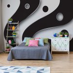 3D Layers Black And White Photo Wallpaper Mural (2612VE)