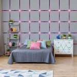 Modern Grey Square Pattern Purple Lights Photo Wallpaper Mural (2645VE)