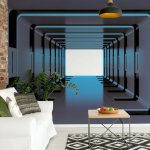 3D Tunnel Illusion Blue Photo Wallpaper Mural (2799VE)