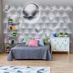 3D Grey And White Design Photo Wallpaper Mural (2849VE)