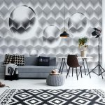 3D Grey And White Design Photo Wallpaper Mural (2850VE)