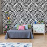 Circles Waves Pattern Black And White Photo Wallpaper Mural (2933VE)