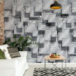 Abstract 3D Design Squares Grey Photo Wallpaper Mural (3029VE)
