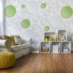 3D Green And White Circles Photo Wallpaper Mural (3033VE)
