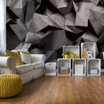3D Polygon Concrete Texture Dark Grey Photo Wallpaper Mural (3062VE)