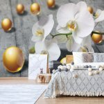 Abstract 3D Design Yellow Balls Orchids Photo Wallpaper Mural (3067VE)