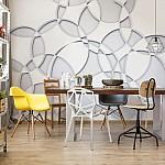 3D Grey White Circles Photo Wallpaper Mural (3072VE)