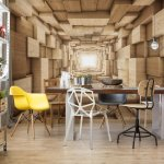 3D Wood Tunnel Optical Illusion Photo Wallpaper Mural (3247VE)