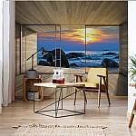 Beach Sunset 3D Modern Window View Photo Wallpaper Mural (3302VE)