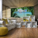 Tropical Beach 3D Modern Window View Photo Wallpaper Mural (3310VE)