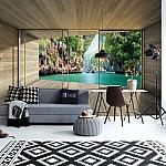 Tropical Lagoon 3D Modern Window View Photo Wallpaper Mural (3315VE)