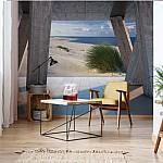Beach 3D Modern View Concrete Photo Wallpaper Mural (3653VE)